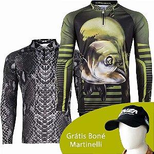 Camiseta de Pesca King 70 - Sneak Shadow - Tam: 04 - GG + Camiseta de Pesca King 81 - Tam: GG + Grátis Boné Martinelli