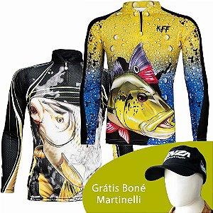 Camiseta de Pesca King Sublimada Kff 305 - Tam. M + Camiseta de Pesca King 60 - Tucunaré - Tam: 02 - M + Grátis Boné Martinelli