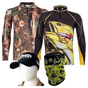 Camiseta de Pesca King Kff 69 + Kff 202 Tam EX + Breeze Grátis Boné Martinelli