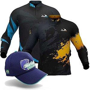 Camiseta de Pesca Presa Viva Dourado 06 - XXG + Camiseta de Pesca Presa Viva Pv 13 - XXG + Grátis Boné Martinelli