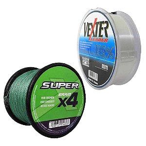 Linha Marine Sports X4 Super Braid Green 0,15mm 15lbs 6,8 Kg 500m + Linha Fluorcarbono Marine Sports Vexter Leader 0.31mm 50m
