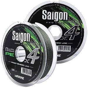 Linha Marine Sports Saigon X4 Green 100m 0,28mm 40lb Multi + Linha Fluorcarbono Marine Sports Vexter Leader 0.42mm