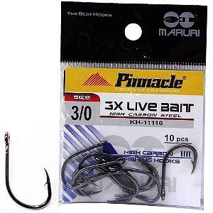 Anzol Pinnacle Live Bait 3x N 3/0 c/ 10 un.