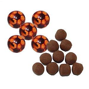 Kit 10 Flutuador Bolinha Chocolate + 5 Ração bolinha futebol 11mm