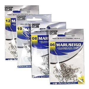 200 Anzóis Marine Sports Maruseigo Nickel (06, 08, 10 e 12)