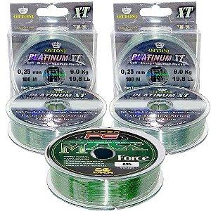 200m Linha Mono Platinum XT 0,25mm + 100m linha multi 0,35mm