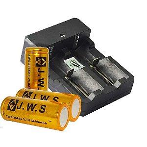 2 Bateria 26650 3.7V 8800mAh Recarregável Para Lanternas + Carregador Duplo