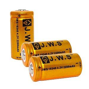 2 Baterias Recarregáveis 16340 JWS 4.2v 2200mah