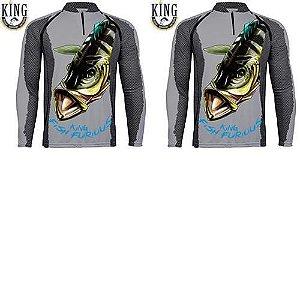 2 Camiseta de Pesca King 7 - Tucunaré Azul - Tam: 02 - M