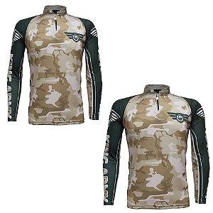 2 Camiseta de Pesca King Sublimada Army Camuflada - Tam. GG