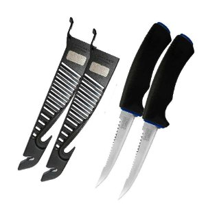 2 Faca MS Fileteira Knife 4 MS-FK05G com afiador, bainha