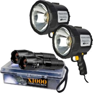 2 Refletor Holofote Nautika Tocha 12v+ 2 Lanterna Tática X1000