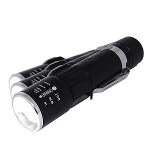 3 Lanterna Mini Usb Bnz-et-12003 Led T6 c/ Zoom