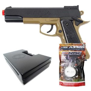 Airsoft Pistola Colt Mk Iv Tan Pn17 + Esferas BBS + Case