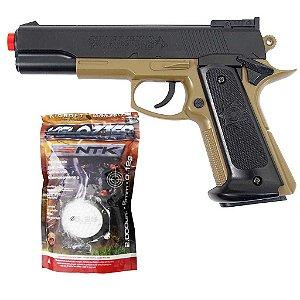 Airsoft Pistola Cybergun Colt Mk Iv Tan Pn17 + Esferas BBS
