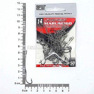 Anzol encastoado Super Maruseigo black 14 com 50 peças.