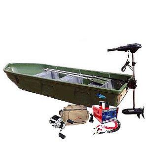 Barco a remo Rodoplast Enduro 310 PESCADOR + motor elétrico Phantom 54 lb - Acompanha: Carregador Martinelli 5A + Carretilha + Bolsa de apetrechos Martinelli G