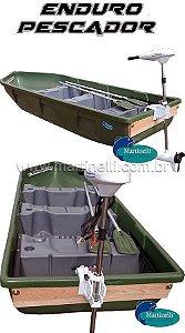 Barco a remo Rodoplast Enduro 310 PESCADOR + motor elétrico Phantom 54 lb marinizado - Acompanha: Carregador Martinelli 5A + Carretilha + Bolsa de apetrechos Martinelli G