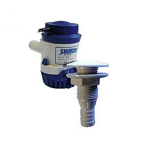 Bomba de Porão Shurflo 1000 GPH + Saída d'água em PVC 3/4.