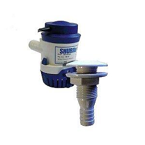 Bomba de Porão Shurflo 500 GPH + Saída d'água em PVC 3/4.