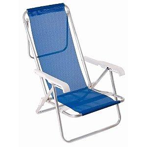 Cadeira Praia Camping Reclinável 8 Posições Azul Mor 2255