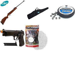 Carabina de pressão CBC B12-6 Cal. 5,5m + Bolsa + Chumbinho + Pistola Airsoft KWC M92 Beretta Spring + Esferas BBS