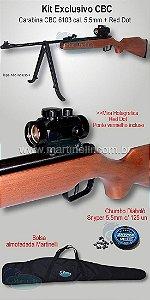 Carabina de pressão CBC Montenegro 6103 B12-6 5,5mm + Mira Holográfica Red Dot 1x30 + Bolsa de transporte + 125 chumbinhos Snyper 5,5mm