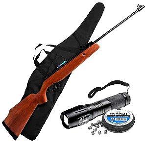 Carabina de pressão CBC Montenegro 6103 Cal. 5,5mm + Lanterna Tática Militar CREE Led X1000 T6-G2 Recarregável Police + Bolsa para Carabina + Chumbinho Diabolô Snyper 5,5mm