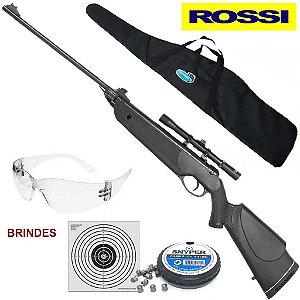 Carabina de pressão Rossi Nova Dione 5,5mm+ Luneta Mira 4x20+ Bolsa para Carabina+ Chumbinho Diabolô Snyper 5,5mm Brinde Alvo e óculos