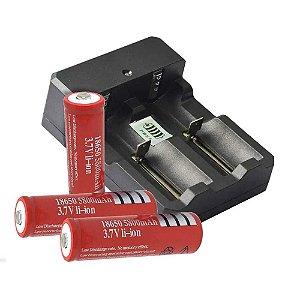 Carregador Duplo p/ Bateria+ 2 Bateria Recarregável Ultra Fire 18650 5800mah 3,7v