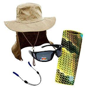 Chapéu com proteção+ Óculos MS-2648 Smoke+ Segurador Breeze