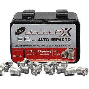 Chumbinho CBC Calibre 6.0mm Six Expansivo Double-X c/ 100