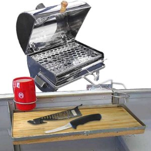 Churrasqueira para barco Bafinho inox 30x20 + Mesa com suporte para barco + Faca MS Fileteira Knife 4 MS-FK05B