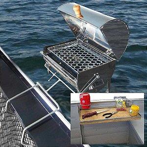Churrasqueira p/barco Bafinhoinox 30x20 -Mesa com suporte