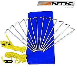 Conjunto de estacas Nautika Kit Camp 12 estacas de aço + 2 cordinhas regulável + bolsa. Serve p/ todas tipos de barraca ou gazebo