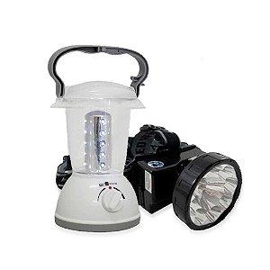 de cabeça recarregável LED ECO-161 + Lampião recarregável LED ECO-785