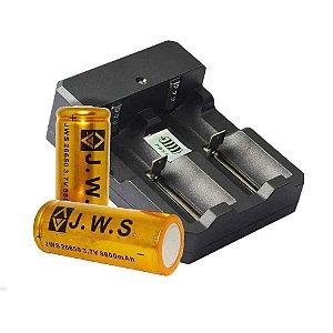 Duplo p/ Bateria + 1 Bateria 26650 3.7V 8800mAh