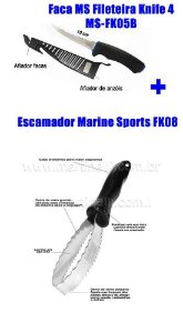 Escamador Marine Sports FK08 + Faca MS Fileteira Knife 4 MS-FK05B