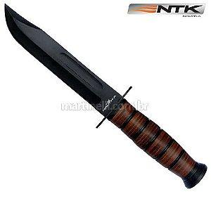 Faca Nautika Attack para pesca, caça e tática - Lámina de açox inox anodizado com cabo de madeira e couro prensado. Inclui bainha de couro