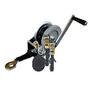 Guincho manual com fita e gancho - cap. 1200 Lbs + Cinta com catraca Fita Cabo Comp. 3,5m - Largura 25mm - 2 pçs
