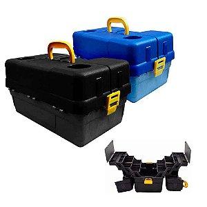 Kit 1X Caixa HI 6 bandeja gran preto + 1X Caixa Hi Cor Azul
