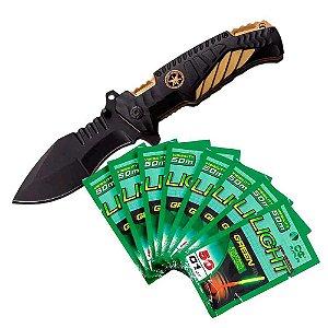 Kit 1X Canivete Tático Gold Clip + 8X Luz Química Maruri 6.0