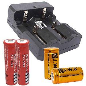 Kit 1X Carregador Duplo e 2X Bateria 18650 e 2X Bateri 16340