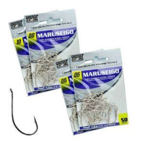 Kit 2X-06 - 1X-08 e 1X Anzol MS Maruseigo Nickel 10-c/ 50 un