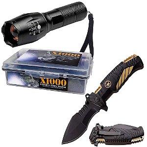 Kit 2X Lanterna Tática Milit X1000 + 1X Canivete Tático Gold