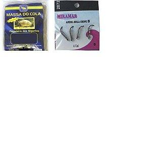 Kit 2X Massa pesca Do Cola - 500 gramas + 10X Anzol com mola