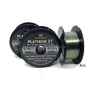 Kit 3X Linha Monofilamento Platinum XT - 0,70mm 51kg - 100m
