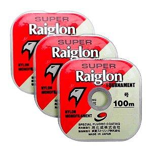 Kit 3X Linha Mono Super Raiglon 0,40 + 0,43 + 0,470mm