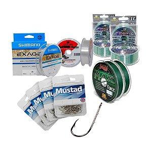Kit anzois Mustad 6-8-10 e linhas mono e multifilamento