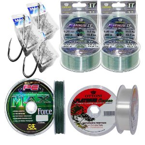 Kit Anzois Mustad 6-8-10-linha Platinum 0,25-0,40-leader
